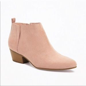 Old Navy Ankle Boots Blush Pink Sueded 10 New